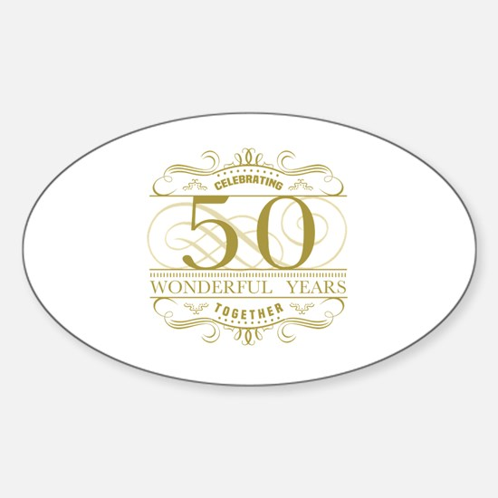 Cute Golden anniversary Sticker (Oval)