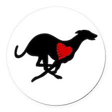 Greyhound Round Car Magnet Hearthound