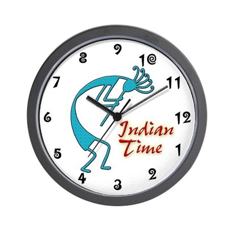 Indian Time Turquoise Wall Clock