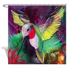 Its Ruby, Humming Bird Design By Gg Shower Curtain