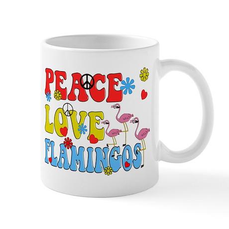 PEACE LOVE FLAMINGOS Mug