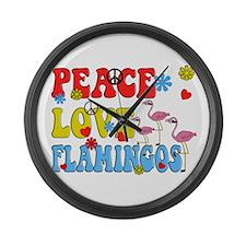 PEACE LOVE FLAMINGOS Large Wall Clock