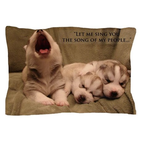Singing Siberian Husky Puppies Pillow Case