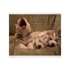 Singing Husky puppy Throw Blanket