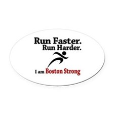 Run Faster Run Harder Oval Car Magnet