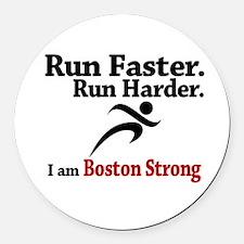 Run Faster Run Harder Round Car Magnet