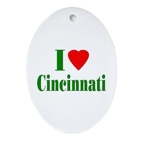 I Love Cincinnati Oval Ornament