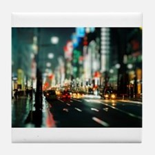 New york street at night Tile Coaster