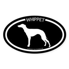 """Whippet"" Black Oval Decal"