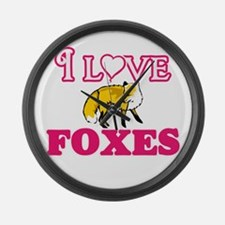 I Love Foxes Large Wall Clock
