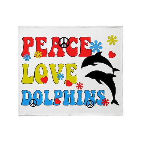 PEACE LOVE DOLPHINS Throw Blanket
