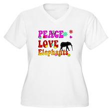 peace love elephants 2 Plus Size T-Shirt