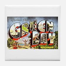 Green Bay Wisconsin Greetings Tile Coaster