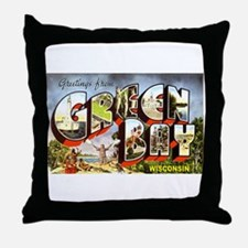 Green Bay Wisconsin Greetings Throw Pillow