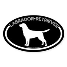 """Labrador"" Black Oval Bumper Stickers"