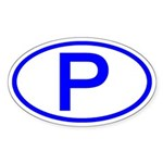 Portugal - P Oval Oval Sticker