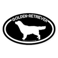 """Golden Reitrever"" Blcak Oval Decal"