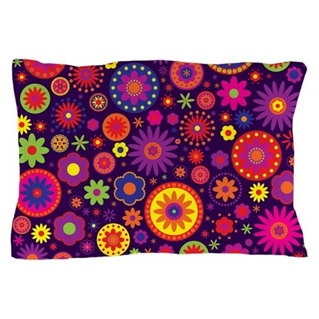 Hippie purple rainbow flowers pillow case by hippygiftshop for Where can i buy rainbow roses in the uk