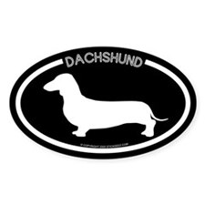 """Dachshund"" Black Oval Decal"
