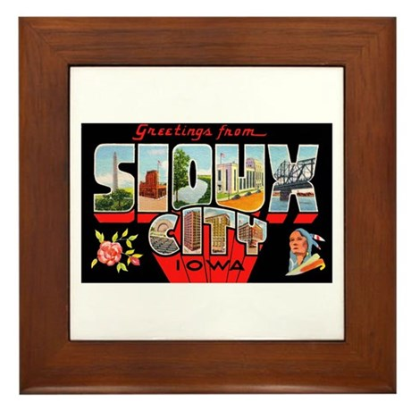 Sioux City Iowa Greetings Framed Tile
