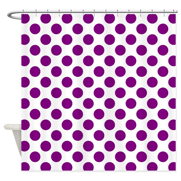 Purple Polka Dots On White Shower Curtain By Funwithfibromyalgia