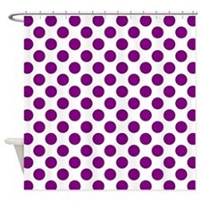 Purple Polka Dots on White Shower Curtain