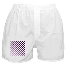 Purple Polka Dots on White Boxer Shorts