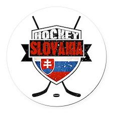Hokej Slovensko Hockey Shield Round Car Magnet