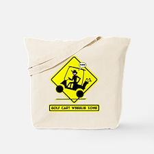 GOLF CART WHEELIE yellow placard Tote Bag