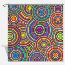 Rainbow Retro Circles Pattern Shower Curtain