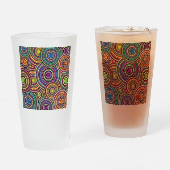 Rainbow Retro Circles Pattern Drinking Glass