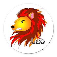 Whimsical Leo Round Car Magnet