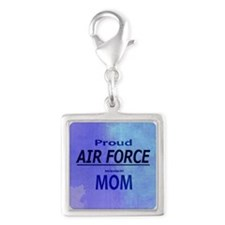 Proud AIR FORCE Mom Silver Square Charm