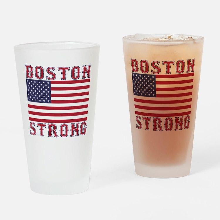 BOSTON STRONG U.S. Flag Drinking Glass