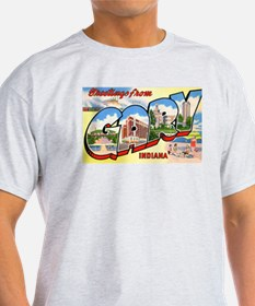 Gary Indiana Greetings (Front) Ash Grey T-Shirt