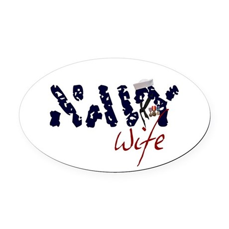 navywife.jpg Oval Car Magnet