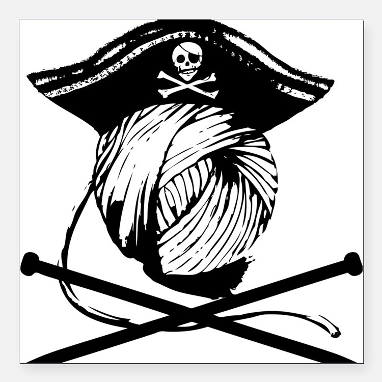 "Yarrrrn Pirate! Square Car Magnet 3"" x 3"""