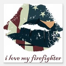 """firefighterkiss.png Square Car Magnet 3"""" x 3"""""""