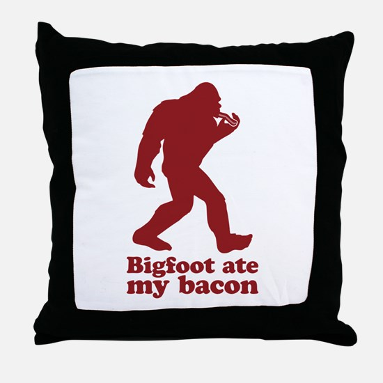 Bigfoot (Sasquatch) ate my bacon! Throw Pillow