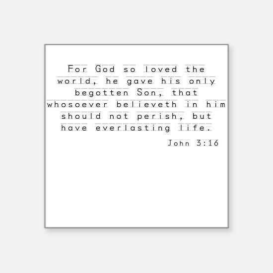 "John 3:16 - Kid Square Sticker 3"" x 3"""
