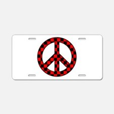 Checkered Peace Sign Aluminum License Plate