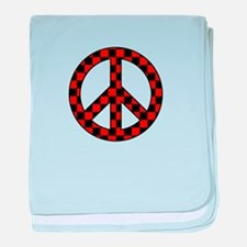 Checkered Peace Sign baby blanket