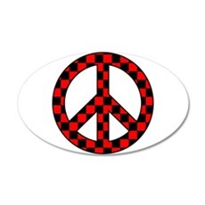Checkered Peace Sign Wall Decal
