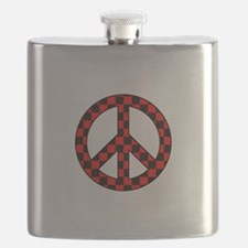Checkered Peace Sign Flask