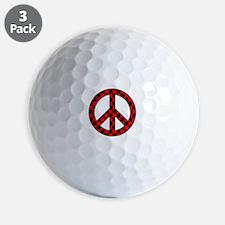 Checkered Peace Sign Golf Ball