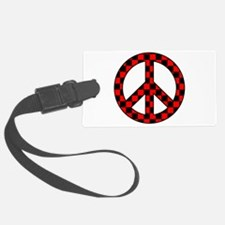 Checkered Peace Sign Luggage Tag