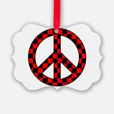 Checkered Peace Sign Ornament