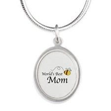 World's Best Mom Silver Oval Necklace