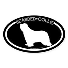 """""""Bearded Collie"""" Black Oval Decal"""