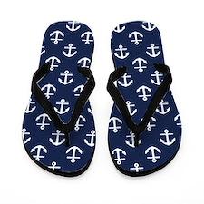 Blue Anchors Flip Flops